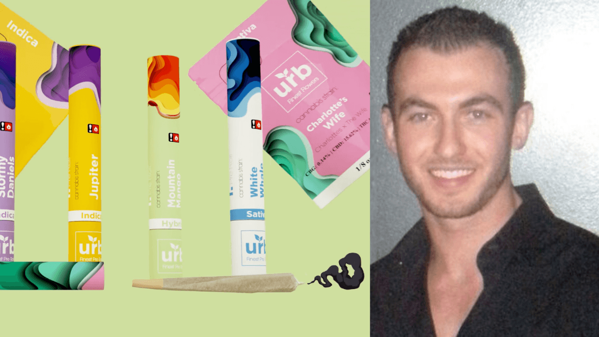 After his basketball career became derailed, Nick Warrender eventually found his way into the CBD industry, and focusing on hemp flower for smoking. Photo: Composite photo shows, on the left, the packaging tubes for Urb pre-roll hemp joints, with a smoking CBD joint at the bottom. On the right, an image of Nick Warrender.